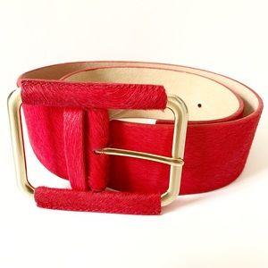 Genuine Italian Leather Hot Red Belt